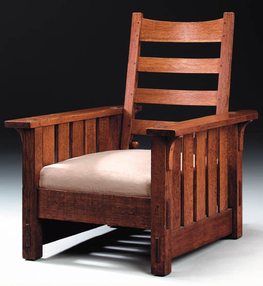 AN OAK MORRIS CHAIR