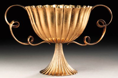 A BRASS CENTERPIECE BOWL