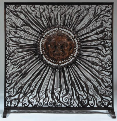 A WROUGHT-IRON PANEL