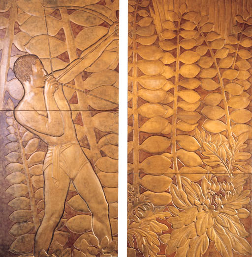 FOUR LACQUERED PANELS FROM 'LA