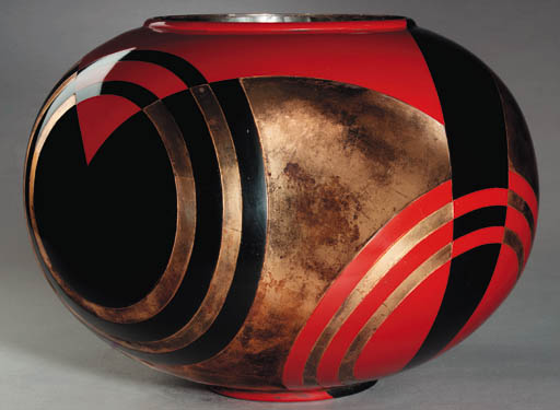 A LARGE LACQUERED METAL VASE