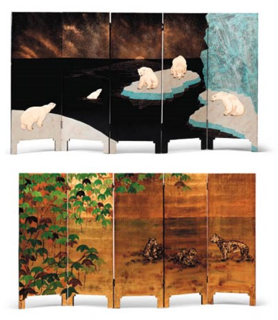 A FIVE-PANEL LACQUERED SCREEN
