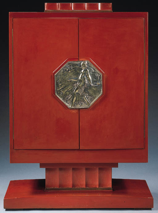 'NICOLLE', A SILVERED BRONZE AND RED LACQUERED WOOD CABINET