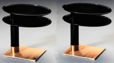 A PAIR OF LACQUER AND BRONZE S