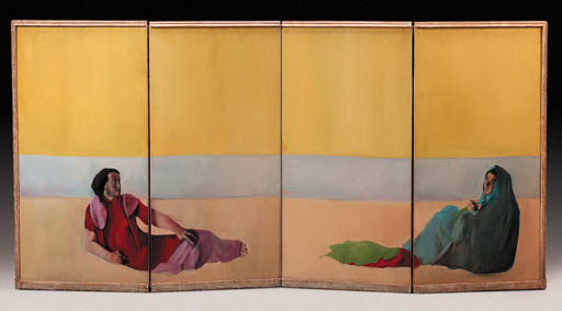 A PAINTED FOUR PANEL SCREEN