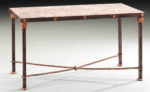 A WROUGHT-IRON OCCASIONAL TABLE