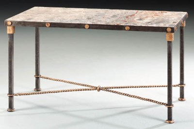 A WROUGHT-IRON OCCASIONAL TABL