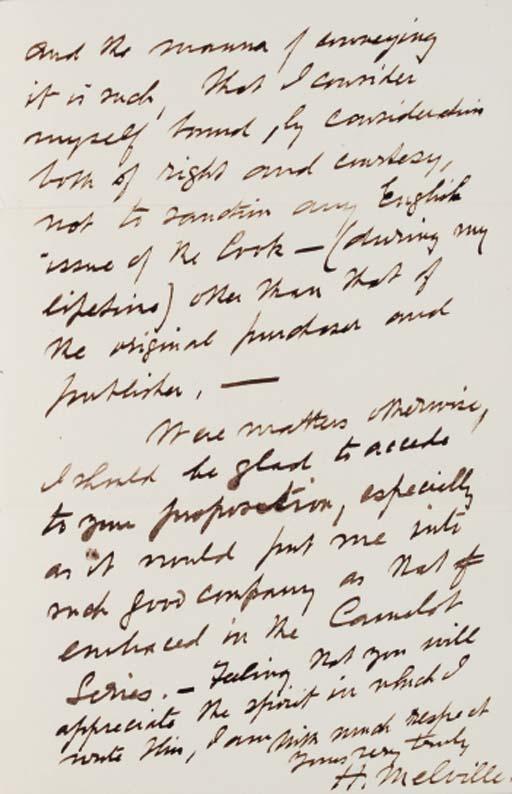 MELVILLE, Herman. Autograph le