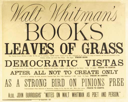WHITMAN, Walt. Walt Whitman's
