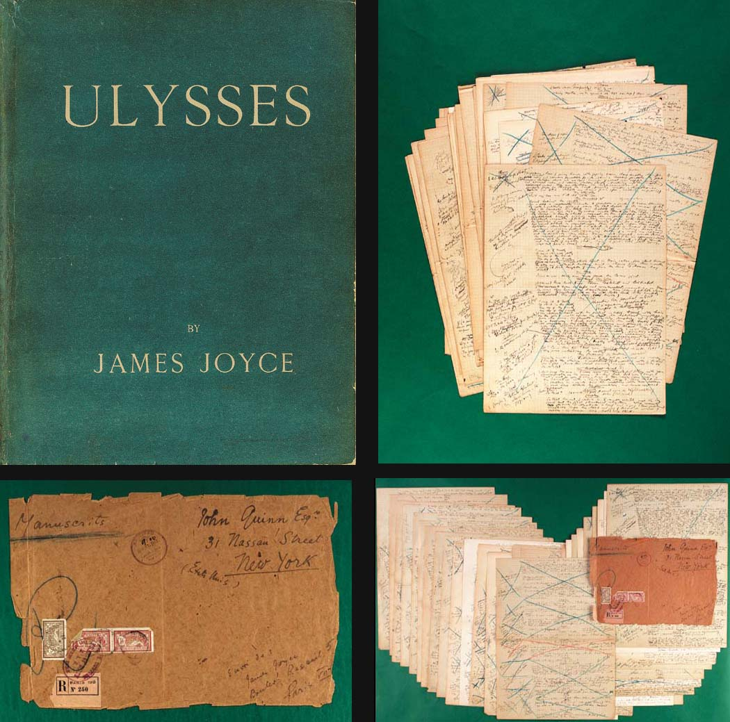 """JOYCE, James (1882-1941). Autograph manuscript of the """"Circe""""episode of Ulysses, a complete working draft with very extensive additions to the dialogue, revisions, word substitutions and other reworkings by Joyce in the left-hand margins of the pages and with additional sections of dialogue,  word lists and other notes written on some versos.  [Paris, July-December 1920]."""