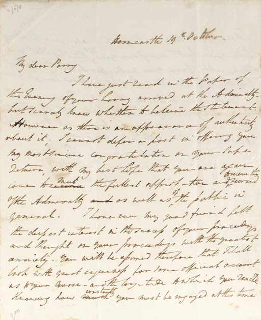 FRANKLIN, Sir John. Autograph