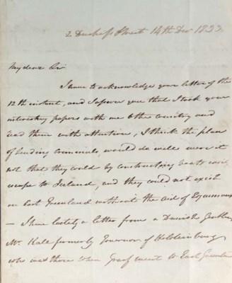 ROSS, John. Autograph letter s