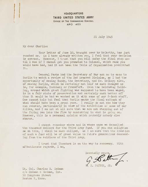 PATTON, George S. Jr.  Typed l