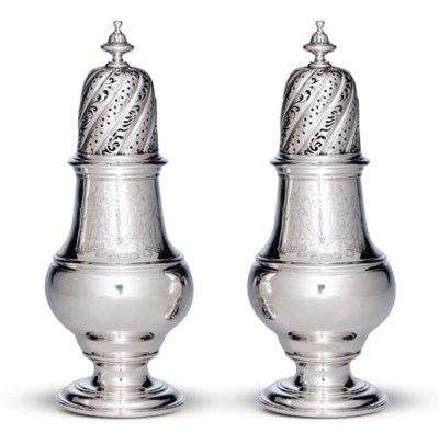 A PAIR OF GEORGE II LARGE SILV