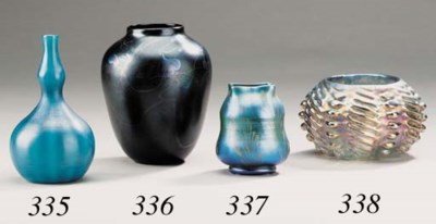 A FAVRILE GLASS CABINET VASE