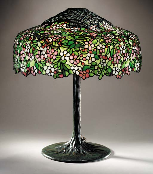 AN 'APPLE BLOSSOM' LEADED GLASS AND BRONZE TABLE LAMP
