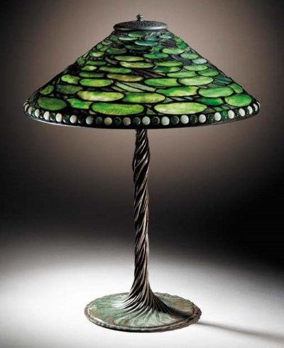 A 'LILY PAD' LEADED GLASS AND