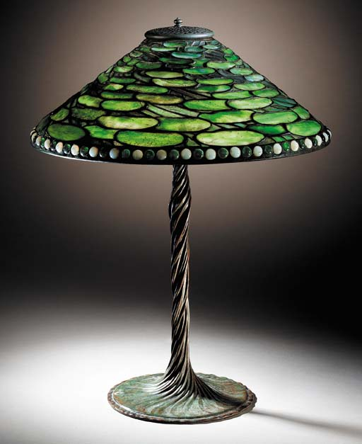 A 'LILY PAD' LEADED GLASS AND BRONZE TABLE LAMP