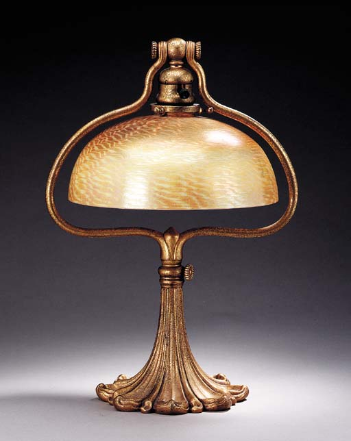 A FAVRILE GLASS AND GILT-BRONZ