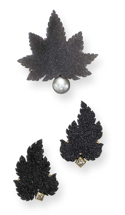 AN UNUSUAL SET OF DRUSY QUARTZ, CULTURED PEARL AND COLORED DIAMOND JEWELRY, BY CECILIA RODRIGUES