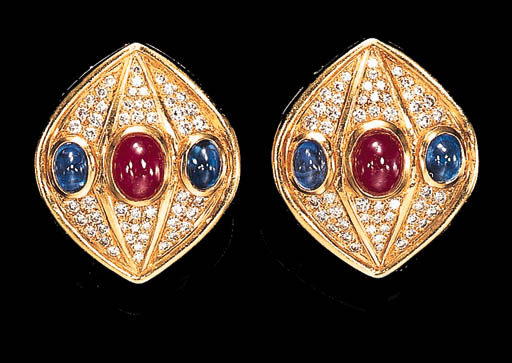 A PAIR OF RUBY, SAPPHIRE AND DIAMOND EAR CLIPS
