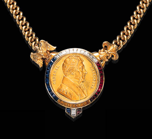 A GOLD MEDAL, RUBY, SAPPHIRE AND DIAMOND NECKLACE, BY BULGARI