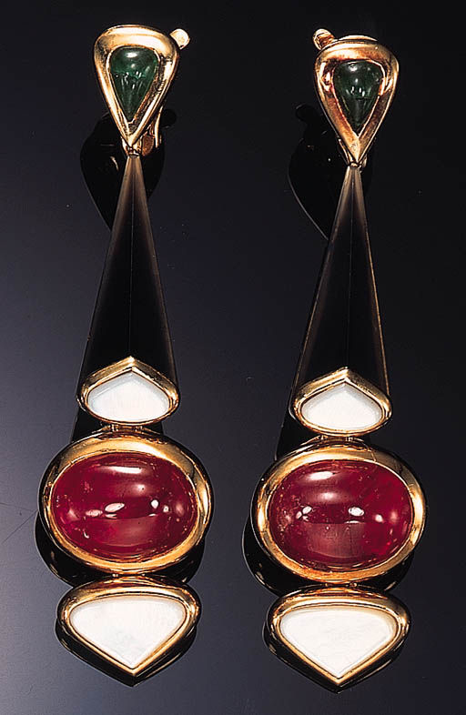 A PAIR OF RUBY, EMERALD, AGATE AND MOTHER-OF-PEARL EAR PENDANTS, BY MARINA B