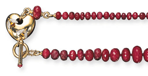 A RUBY, GOLD AND ENAMEL NECKLACE