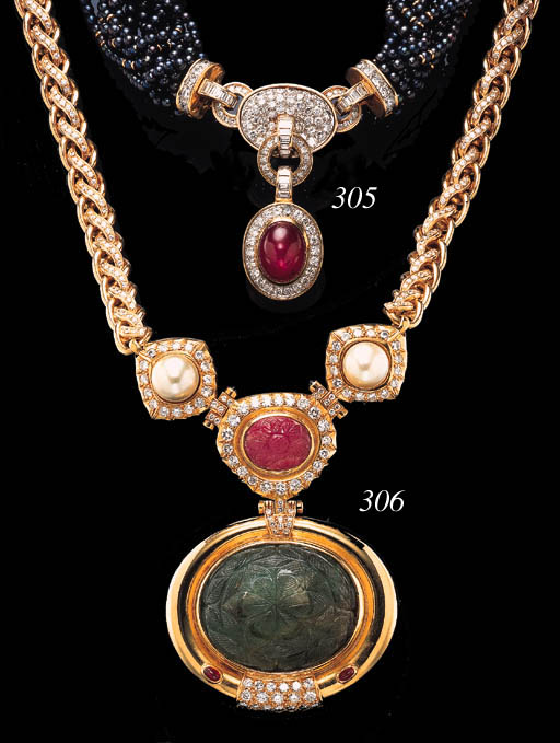 A STAR RUBY, DIAMOND AND MULTI-STRAND CULTURED PEARL NECKLACE, BY BULGARI
