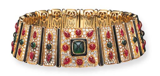 AN EMERALD, RUBY, DIAMOND AND ONYX CHOKER, BY MARINA B
