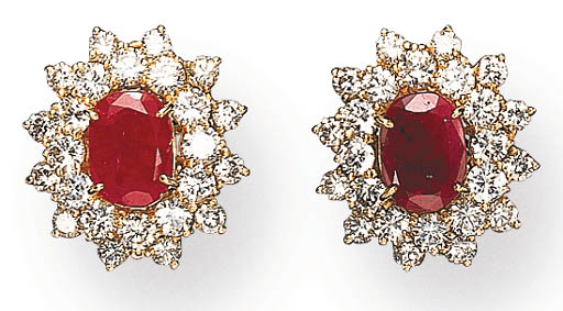 A PAIR OF RUBY AND DIAMOND EAR CLIPS