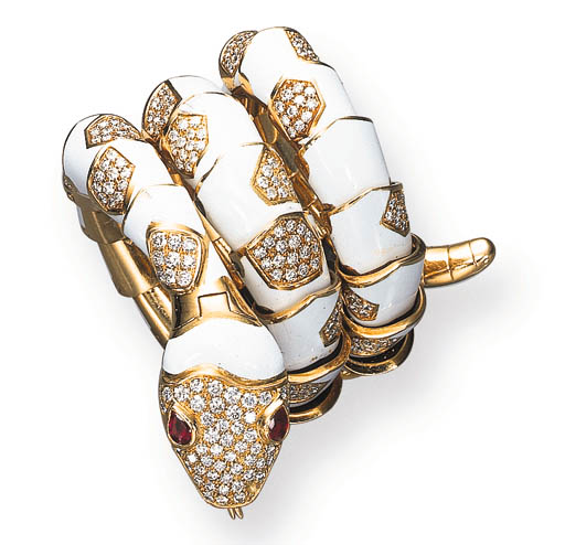 A DIAMOND, ENAMEL, RUBY AND 18K GOLD SNAKE WATCH-BRACELET, BY BULGARI