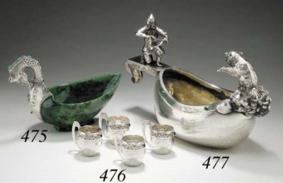 A set of four gemset and silve