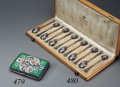 A set of twelve silver-gilt an