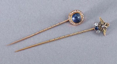 TWO JEWELLED GOLD-MOUNTED TIE-