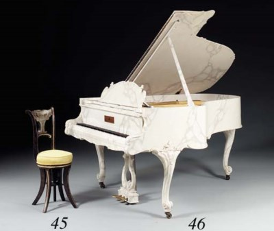 A STEINWAY WHITE MARBELIZED GR