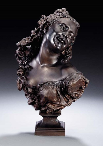 A FRENCH BRONZE BUST OF A 'BAC