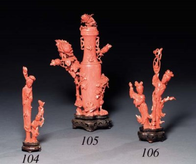 A CORAL VASE GROUP**