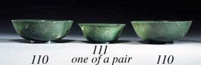 A PAIR OF SPINACH-GREEN JADE B