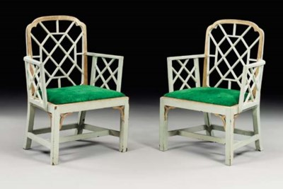 A PAIR OF GEORGE III GREEN-PAI