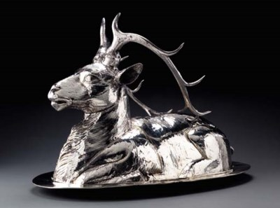 AN ITALIAN SILVER-PLATED MEAT