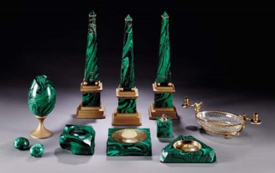 A GROUP OF MALACHITE AND FAUX