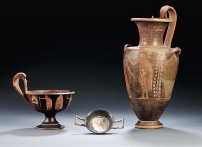 TWO ETRUSCAN VASES WITH SUPERP
