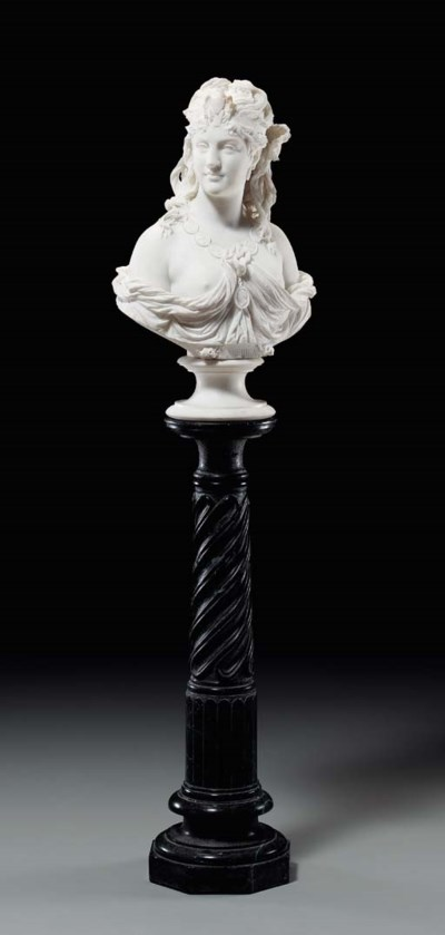 WHITE MARBLE BUST OF A WOMAN E