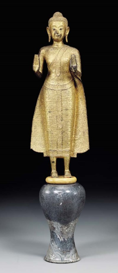 A THAI GOLD-LACQURED-BRONZE FI