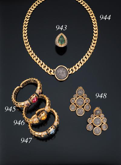 Bracciale in oro e pietre sintetiche, firmato Marina B