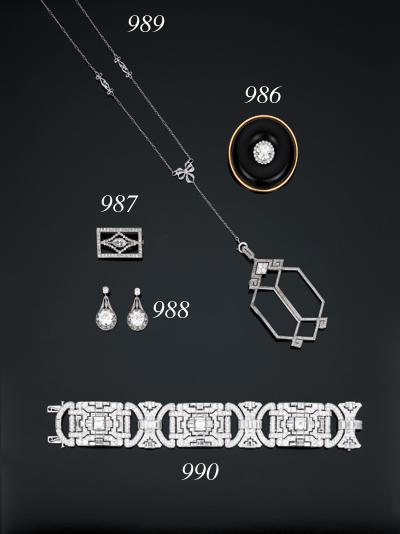 Bel bracciale art déco in diamanti