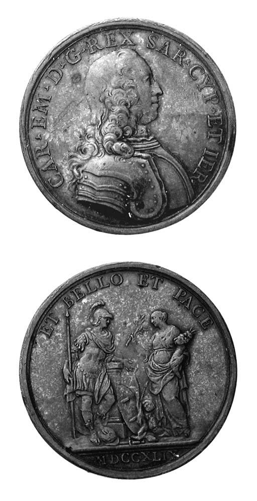Carlo Emanuele III, bronzo, 45