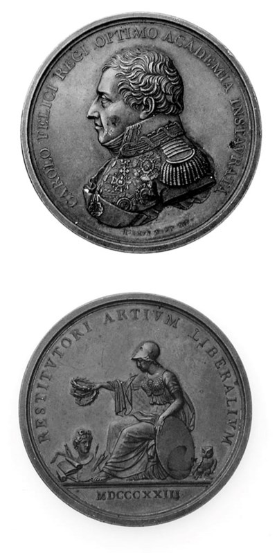 Carlo Felice, bronzo, 46mm., o