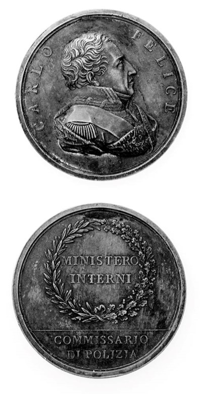 Carlo Felice, bronzo, 50mm., o
